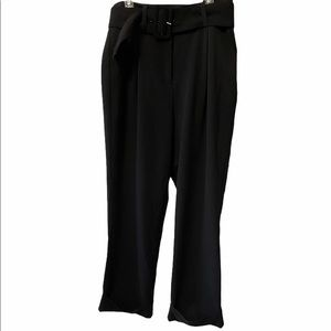 FRANK&OAK Black High Waist Belted Cuffed Wide Leg